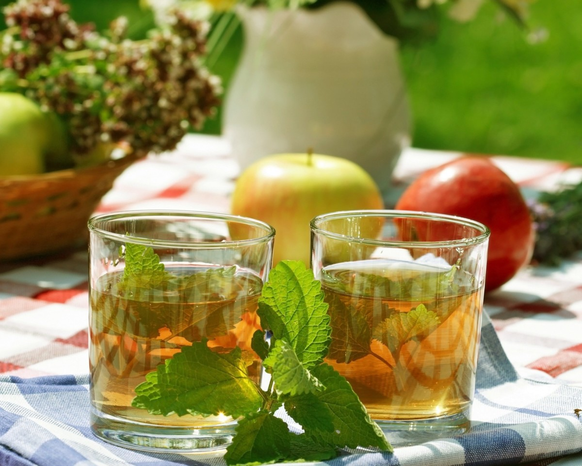 Mint and apple tea are good for concentrating and activating brain activity, and the smell of mint raises the mood and promotes a lively conversation.