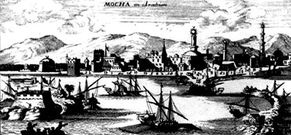 The port city of Moha on the Red Sea.  Engraving from 1692, Holland